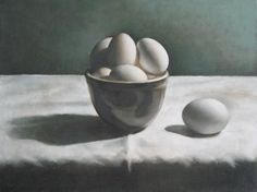 Still Life With Eggs Painting by Matthew Kinsey ~ oil on canvas