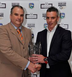 Paul Gill, Managing Director of Claregalway Hotel presenting Padraic Joyce, Killererin with Hall of Fame Award 2012 upon his retirement from Galway Football at the Dream Team Awards 2012 held in Claregalway Hotel on Friday November 30th. Photographer: John McManus