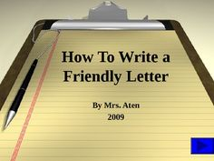 This power point goes over the parts of a friendly letter and teaches children how to write a friendly letter. Teaching Letters, Teaching Writing, Student Teaching, Writing Activities, Teaching Tools, Teaching Kids, Writing Letters, Writing Ideas, Third Grade Writing