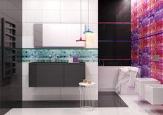 Black & white is always a good idea. Glazed ceramic tiles Opp! 90x30 cm with Multicolor decorations.