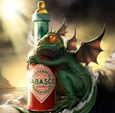 baby dragon and his drink of choice