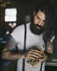 Lane Toran - full thick bushy beard mustache beards bearded man men mens' style clothing fashion suspenders tattoos tattooed handsome long hair #beardsforever