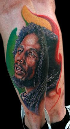 Bob Marley by Cecil Porter - Done with Fusion Ink, The Dragonfly Tattoo Machine and needles from The Glove for the Artist. Celebrity Tattoos Male, Rasta Tattoo, Rasta Art, Bob Marley Legend, Fusion Ink, Dragonfly Tattoo, World Tattoo, Tattoos Gallery, Tatuajes