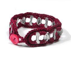 Red Crochet Soda Tab Bracelet. $11.00, via Etsy.