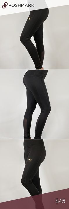 Puma Ladies  Moto Tight Features  Color  Black (w  Gold Puma Logo) Moisture  wicking fabric Articulated knees for ease of movement Mesh insert detail on  back ... 9bb9fb60265