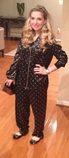 New Year's Eve 2014 Pajama party outfit | satin polka dot twin set, gold chain necklace, black bow ballet flats, Kate spade satchel, love and luck, butterfly cruciani bracelets and gold Jcrew headband
