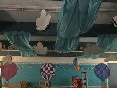Preschool classroom, Sky VBS, oh the places you will go, clouds, hot air balloons,