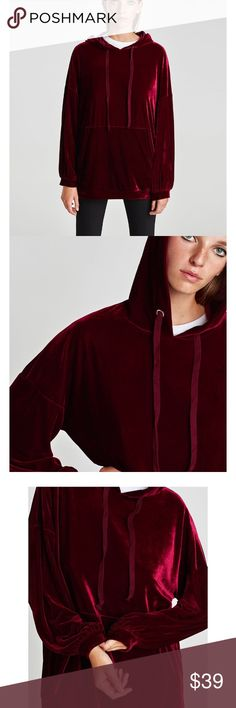 Zara Velvet hooded sweatshirt Brand new with tags, size medium would fit to all sizes, color is more burgundy than red Zara Tops Sweatshirts & Hoodies