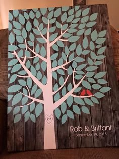 Darkwood Wedding Tree Canvas | Guest Book Alternative | Rustic Wedding | Customer Photo | Wedding Color - Red & Blue | peachwik.com