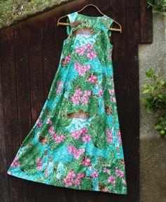 Hawaiian Dress Vintage Muumuu Tropical by RareRagsandTreasures, $38.00 Muumuu, Esty, Dress Vintage, Tie Dye Skirt, Hawaiian, Corner, Tropical, Summer Dresses, Sewing