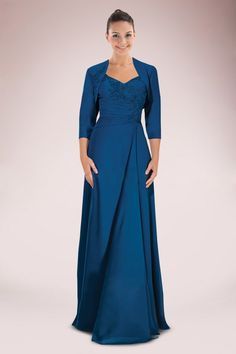 Elegant Chiffon Long A-line Mother of Bride Dress with Pleated Appliqued Bodice and Matching Jacket