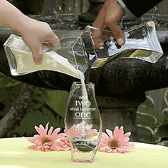 Two Shall Become One Sand Ceremony is a novel alternative for the popular unity candle ceremony incorporated into many of today's weddings. The essence is to symbolize the union of two into one. This sand version is not only beautiful and interesting but also more appropriate for an outdoor setting.