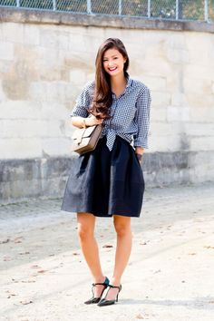 Peony Lim - shirt from Venice, Golden Goose Delux Brand skirt, Jimmy Choo bag and shoes - Paris Fashion Week Spring/Summer '14.  (2013)