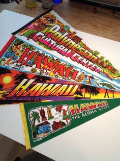 You can dream of #Hawaii year round when you hang these! Pennant Vintage Souvenir Hawaii, Lot 4, Aloha, #PolynesianCulturalCenter
