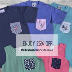 Today only - enjoy 25% off our pocket t-shirts and tank tops. Don't miss out, get yours at www.theyachtcollect.com