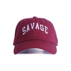 Nerdy Fresh The Savage Unv. Dad Hat in Burgundy ($28) ❤ liked on Polyvore featuring men's fashion, men's accessories, men's hats, hats, burgundy, mens fitted hats, mens caps and hats, vintage mens accessories and vintage mens hats