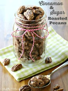 Cinnamon & Sugar Roasted Pecans in a Mason Jar.  These would make great 80th birthday favors.