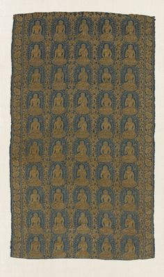 Textile fragment, silk and gold thread lampas weave. Tibeto-Chinese, Yuan, late 13th century. 28.35 x 16.54 inches (72 x 42 cm).