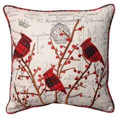 Deck the halls with these boughs of holly when you add this embroidered throw pillow to your sofa. Featuring a whimsical pattern of hollies and cardinals, this holiday decor accent brings French count