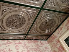 """""""Steampunk"""" Faux Tin Ceiling Tile 24″x24″ – not sure but the strips between tiles look green"""