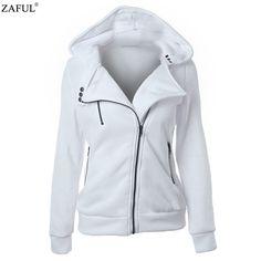 ZAFUL 4 color New Autumn&winter Women hoodies sweatshirts zipper V Neck Long Sleeve Warm Female Hoodies Sudaderas Mujer - free shipping worldwide