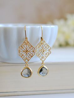Gray and Gold Earrings Black Diamond Charcoal Grey by LeChaim