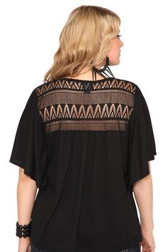 Black Flutter Sleeve Crochet Back Plus Size Top - $34.50 | Torrid [Plus Size Clothing]