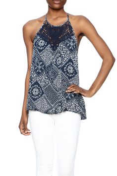 d07f3b9ab9c9b With an eye-catching crochet lace detail on the bodice and sweet bandana  inspired print. Shoptiques