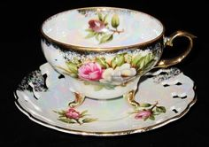3 Footed - White & Pink Roses - Iridescent Finish - Cup & Saucer Set