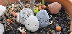 "This is a cute idea! ""The family stone - Zü"" Stone Crafts, Rock Crafts, Pebble Art, Pebble Stone, The Family Stone, Rock Family, Rock And Pebbles, Rock Painting Ideas Easy, Pet Rocks"