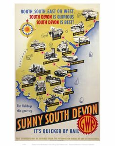 Print of Sunny South Devon, GWR poster,