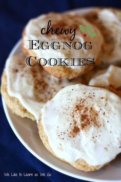 Soft and chewy eggnog cookies to brighten your holiday!  Plus 16 more eggnog recipes in case you just can't get enough! #eggnogrecipe   #foodieextravaganza
