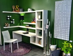 need a corner office space? this is functional and estectically stimulating, especially with white lacquer on a colour wall. have fun!