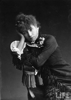 Sarah Bernhardt, 1878...Alphonse Mucha contracted with her, and did so many amazing paintings of Sarah and the theatre.