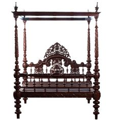 Anglo-Indian Heavily Carved Mahogany Four Poster Bed Elaborately carved Anglo-Indian four poster bed with cornice. Bed has original patina. Indian Furniture, Oriental Furniture, Unique Furniture, Gothic Furniture, Indian Bedroom, Indian Bedding, Four Poster Bed, Poster Beds, India Decor