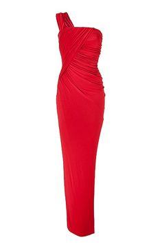 DONNA KARAN  Crimson red one-shoulder dress  $2600
