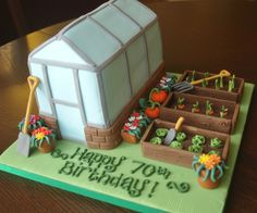 Greenhouse and gardening birthday cake - I love that cake Co. Bedford