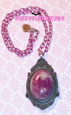 Violet Grey Glitter Cameo Necklace by Pinkspiderwebs on Etsy