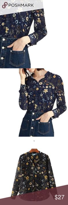 """🔐available soon🔐 Retro Floral Top v-neck, chiffon/polyester blend, lightweight  ❤Add this listing to your """"likes"""" & I'll send you a notification when it's in stock. 🛒Limited quantities so act fast when you get your notification. ⁉️I'm happy to answer all your questions, please ask them before you buy so I can make your purchase in my closet absolutely perfect. Tops"""