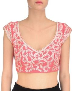 Aharin Coral Pink Blouse with Embroidery