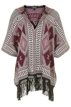 Patterned Hooded Fringe Cardigan