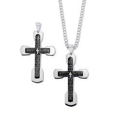 Men's stainless steel neckchain with a stainless steel cross pendant. Pendant has black enamel look in the cross with the Lord's Prayer inscription. Offered in your choice of English or Spanish. Regularly $39.99, buy Avon Jewelry online at http://eseagren.avonrepresentative.com