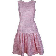 Plakinger - Ruffled Hem Tweed Dress ($695) ❤ liked on Polyvore featuring dresses, shimmer dress, pastel purple dress, ruffle hem dress, flounce hem dress and purple dress