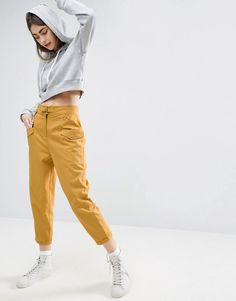 ASOS Yellow High Waisted Peg Trousers with Buckle Front