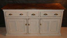 Antique Dresser Base  Good antique pine dresser base with a later paint finish. 1880