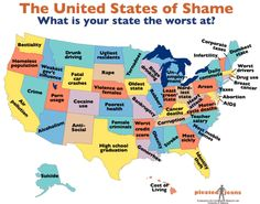 The United States of Shame. What is your state the worst at? What is the Most Screwed Up Thing About Your State? Check This Chart LOL New York, typical _ but not too shabby, could be worse! Au Pair, States In America, United States, 50 States, America America, North America, Funny Memes, Jokes, It's Funny