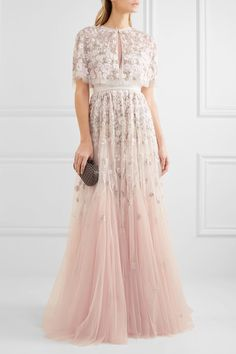 Needle & Thread embellished embroidered tulle gown and capelet