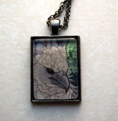 pendant with a tiny watercolor painting
