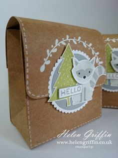 Tutorial | Gift Bag Punch Board Woodland Satchel with Foxy Friends – Helen Griffin How To Make A Gift Bag, Envelope Punch Board, Cards For Friends, Stampin Up Foxy Friends Cards, Gifts For Kids, Diy For Kids, Foxy Friends Punch, 3d Paper Projects, Paper Purse