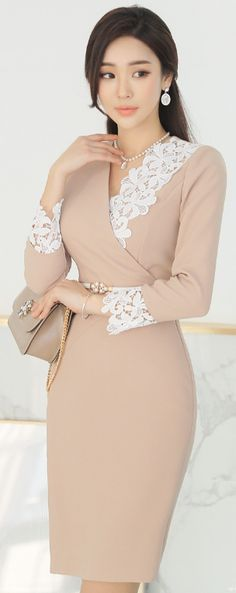 StyleOnme_Floral Lace Detail Wrap Style Dress long skirt for hijabers Source by dress hijab Elegant Dresses, Cute Dresses, Beautiful Dresses, Short Dresses, Long Skirts, Beige Dresses, Dress Skirt, Dress Up, Dress Long